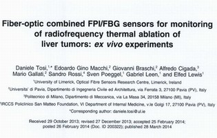 Fiber-optic combined FPI/FBG sensor: radiofrequency thermal ablation monitoring